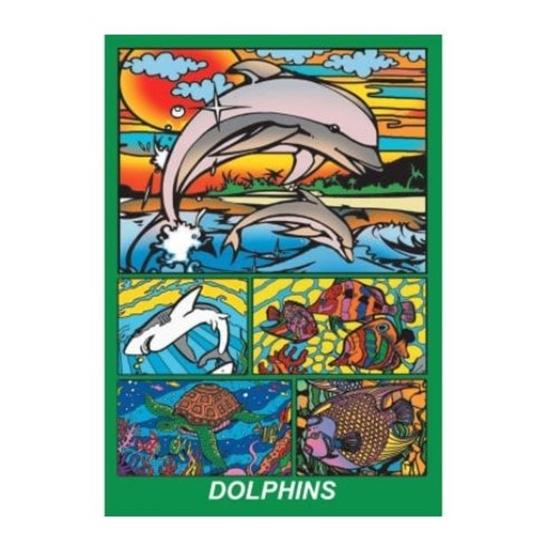 Слика на Сет за боење, кадиф.кут, +12 фломастери, COLORVELVET, Делфини, BOX11, 24*17*13цм