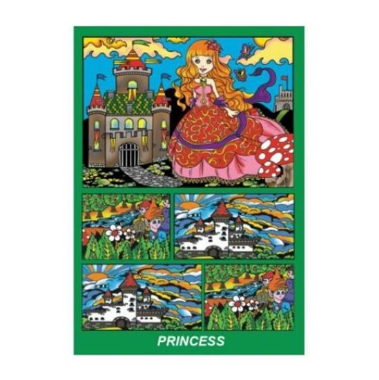 Слика на Сет за боење, кадиф.кут, +12фломастери, COLORVELVET, Принцеза, BOX14, 24*17*13цм