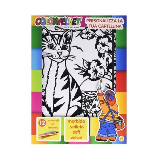 Picture of Папка за боење, Кадифена, +12 фломастери, COLORVELVET, Мачиња,  CT1, 32*26*19цм